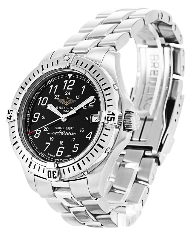 Cheap Breitling Colt Quartz Black Dial Timepieces-