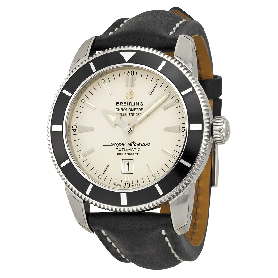 Breitling Superocean Heritage Silver Dial Black Leather watch 0
